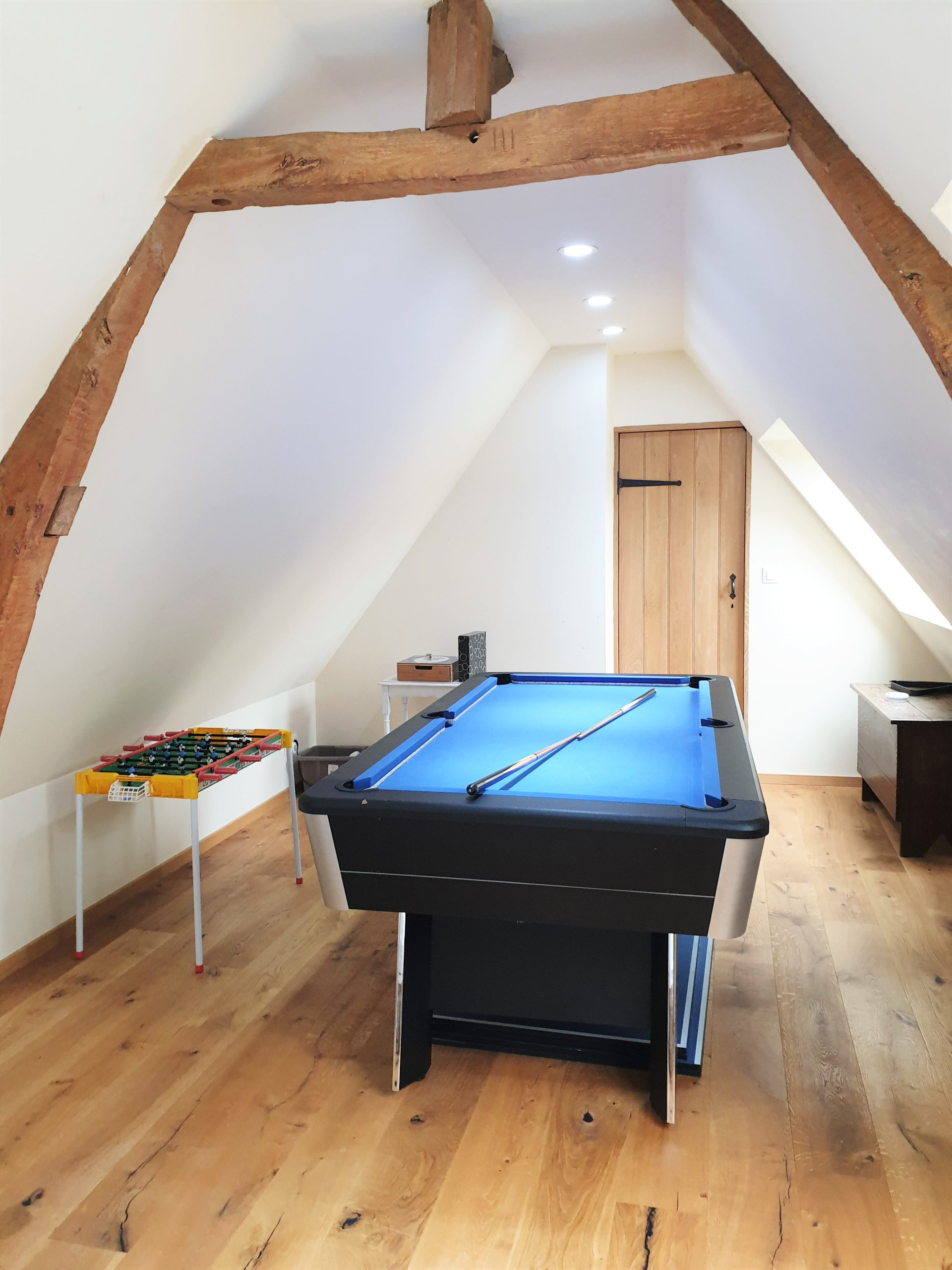Pool Table and Table Football in the upstairs games area